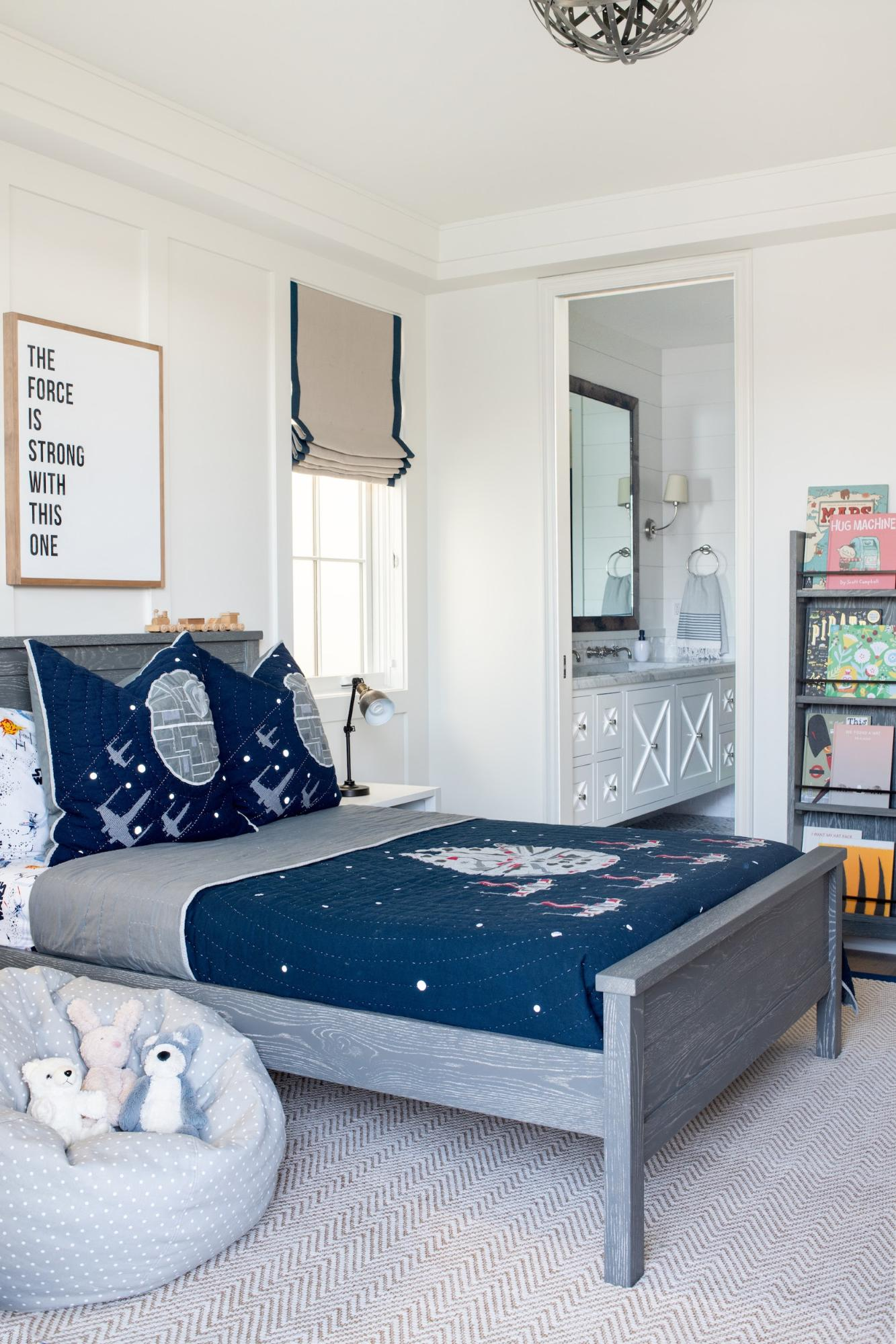 kid and pet friendly bedroom with Star Wars theme