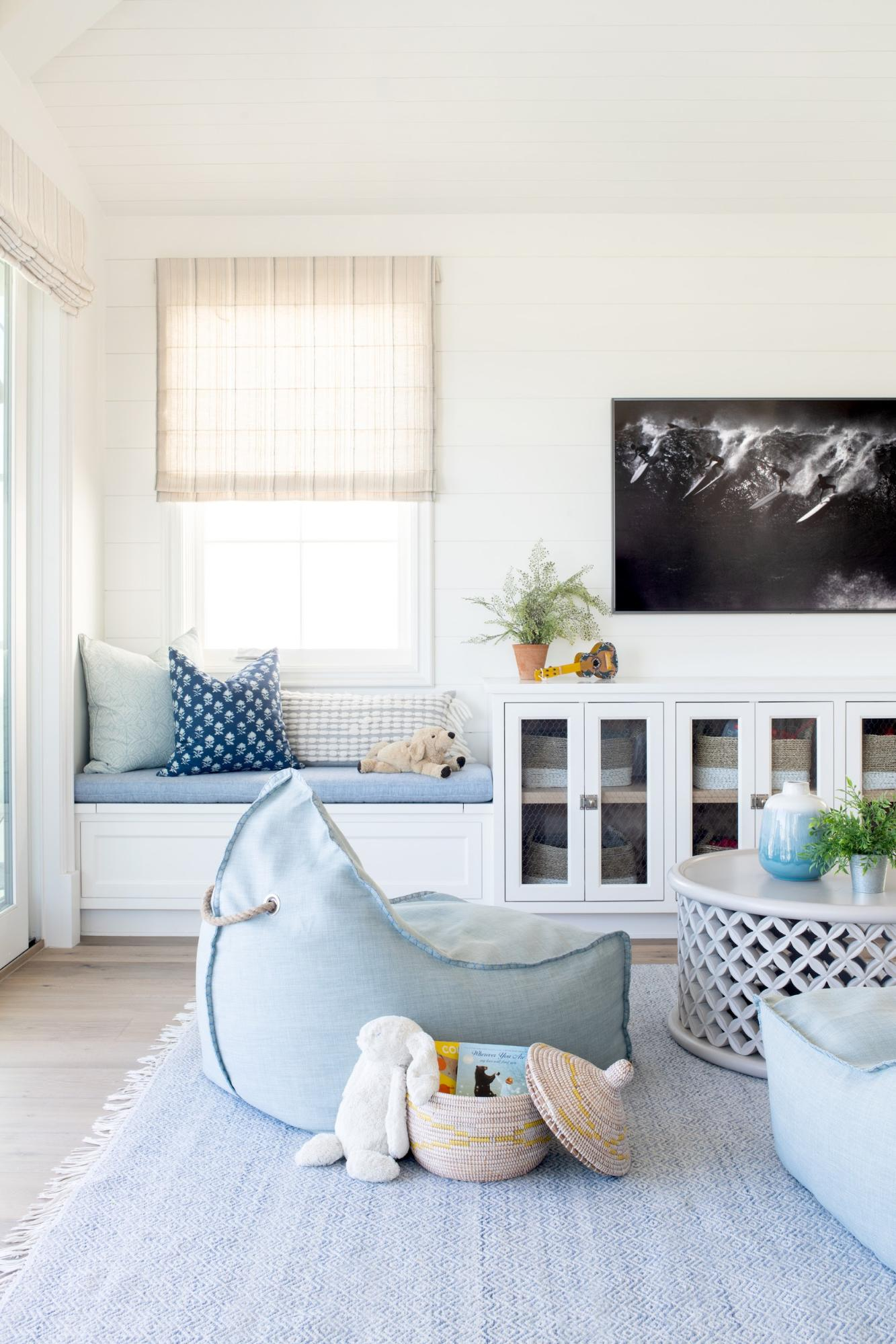 kid and pet friendly living room with bean bag chairs and performance fabric