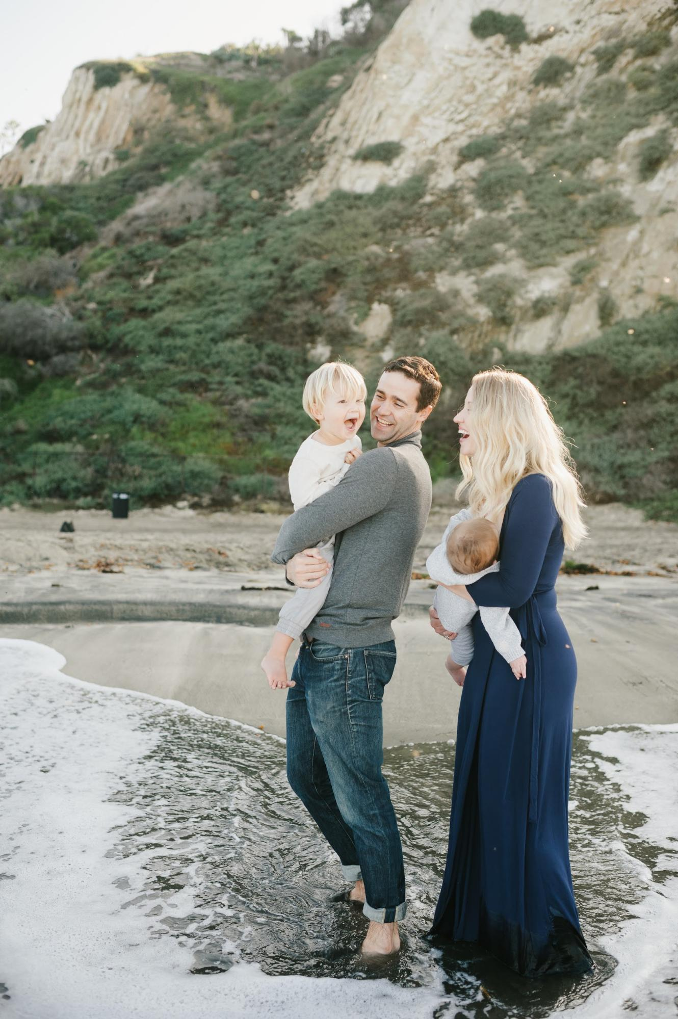 family with kids on the southern California beach