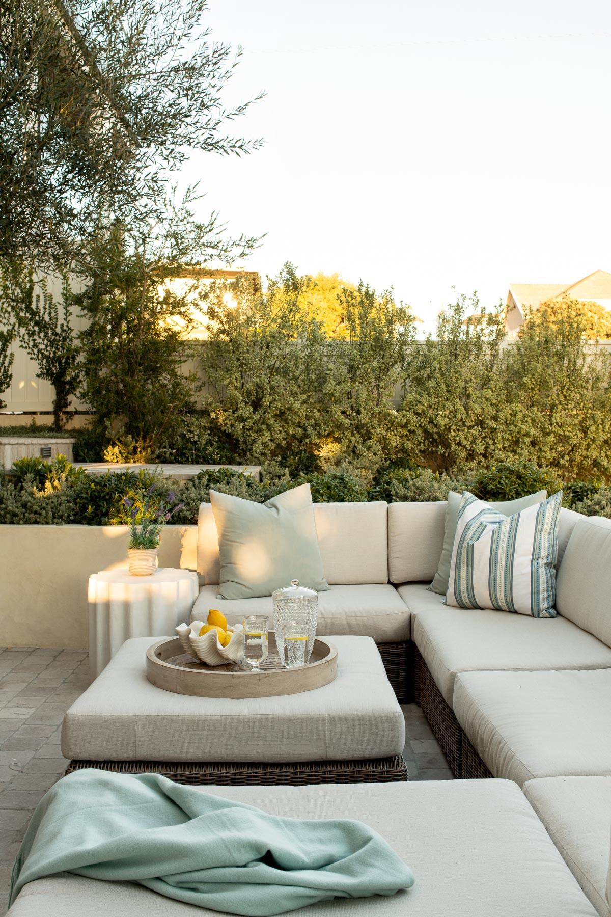 family beach house patio with sofa